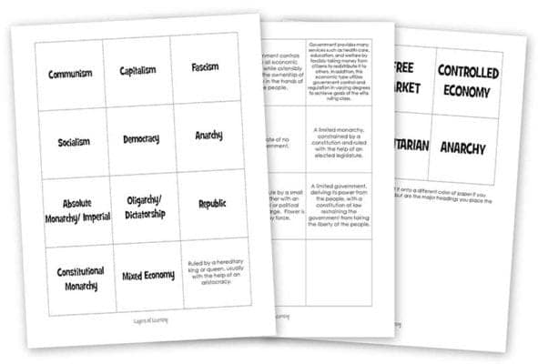 Different forms of government worksheet