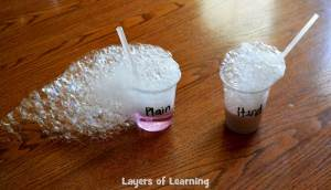 This experiment shows the difference between hard and soft water.