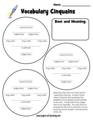 Vocabulary Cinquains