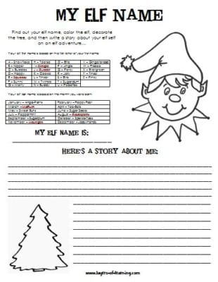 My Elf Name - a writing activity
