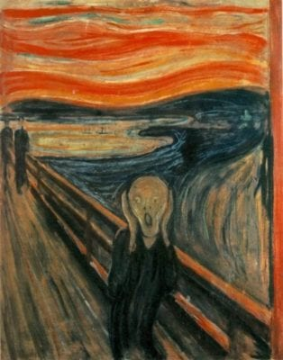 The Scream by Edvard Munch. From Wikipedia image repository. This image is in the public domain in the United States because it was first published outside the United States prior to January 1, 1923.