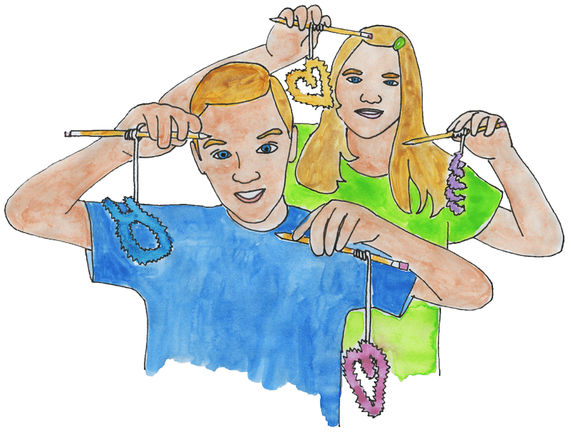 watercolor of kids holding crystals