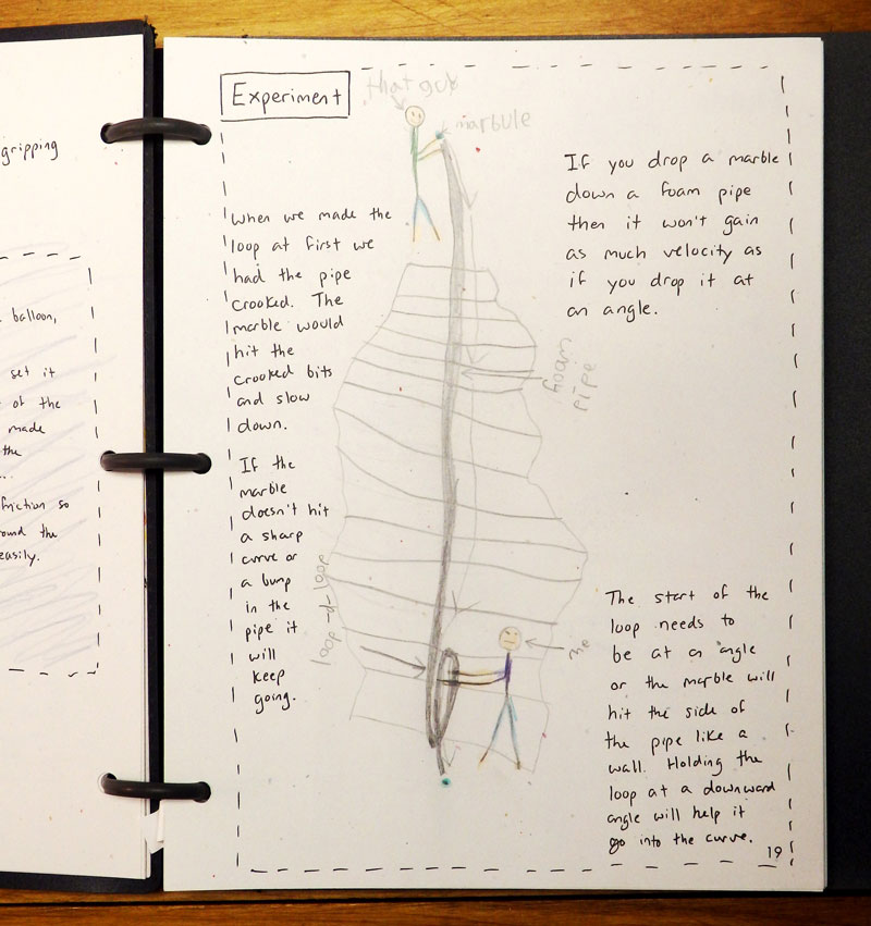 Marble Roller Coaster Notebook Page Written by a child