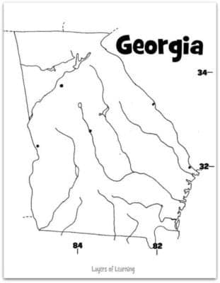 Georgia State Study With Printable Map Layers Of Learning - Rivers of georgia map