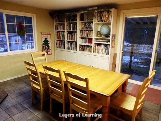 Michelle's schoolroom with bookshelves