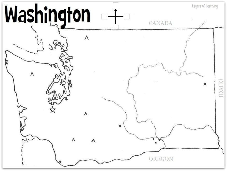 Unusual image throughout printable map of washington state