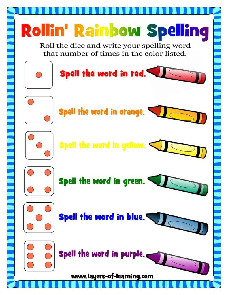 Rollin 39 rainbow spelling a spelling activity layers of for Rainbow writing spelling words template