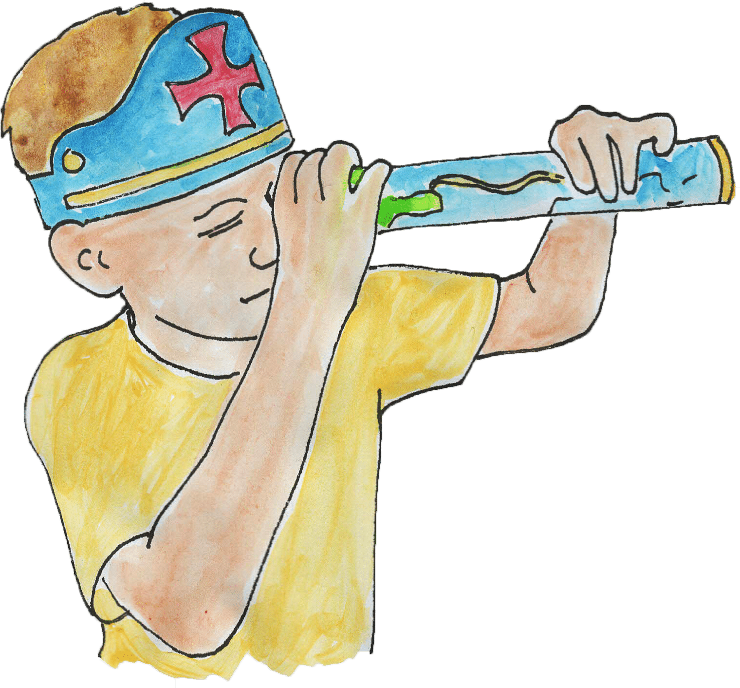 child in a Christopher Columbus themed paper hat and playing with a paper spyglass