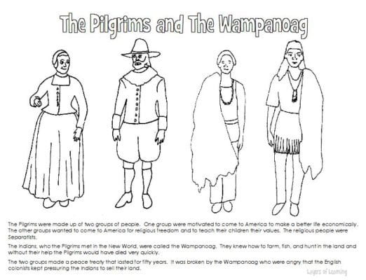 Pilgrims and Wampanoag coloring sheet