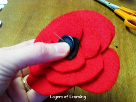 Veterans day poppy craft layers of learning some tips when you thread the needle pull the thread through until it is doubled up and then tie a knot in the end this leaves a loop through which you mightylinksfo
