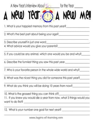 Printable New Year's Interview For Kids