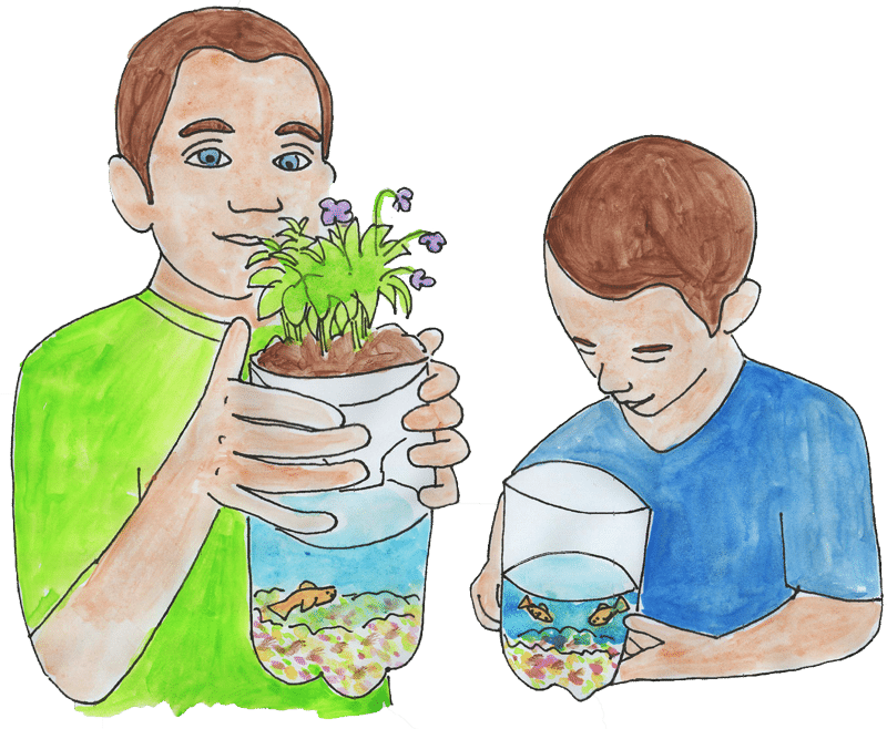 watercolor picture of kids with pop bottle ecosystems