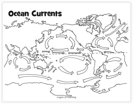 Ocean Currents Layers Of Learning. Color The Arrows In Red For Warm Currents And Dark Blue Cold Major Can Be Labeled With Help Of A Student Atlas. Worksheet. Ocean Current Worksheet At Mspartners.co
