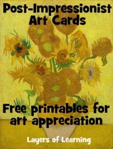 Post Impressionist Art Cards to print for free. Use for art appreciation.