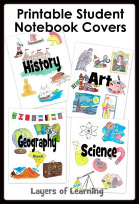 Printable Student Notebook Covers from Layers of Learning