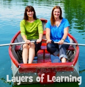 Michelle is in the green and Karen is in the blue.  We're sisters, homeschool mamas, and the hosts of the Layers of Learning podcast.  Most of all, we're happy you're here!