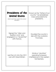 Fact cards for US presidents