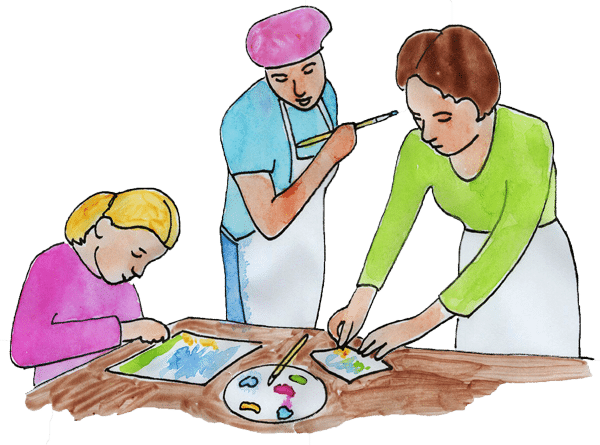 Mom working with girls painting