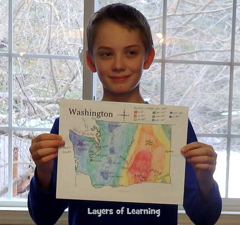 Presenting a U.S. state maps project to the family