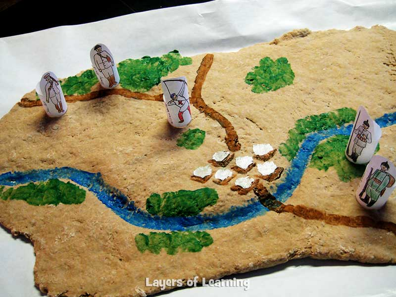 map made of salt dough showing the battle of Mons.