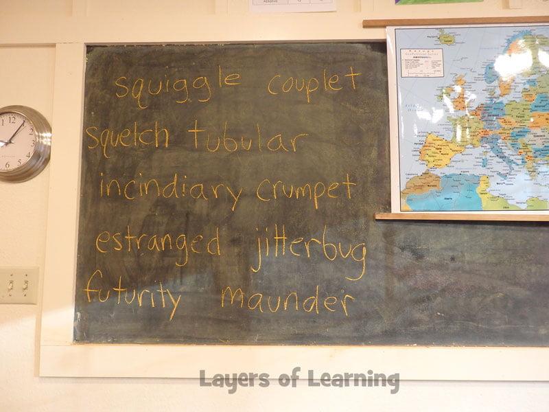A list of wrods written up on a chalkboard